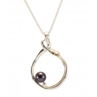 Silver Loop Pendant with Black Pearl