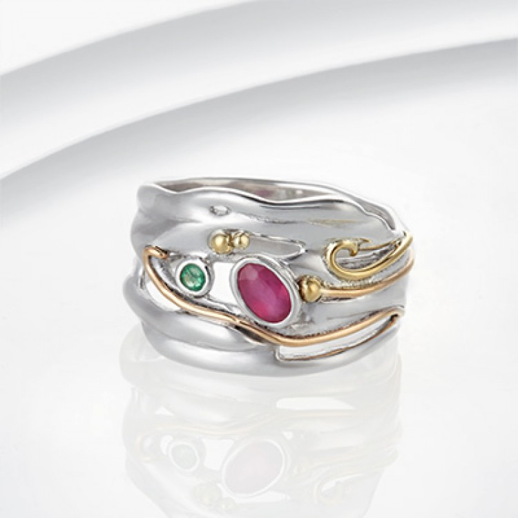 ruby and emerald organic ring