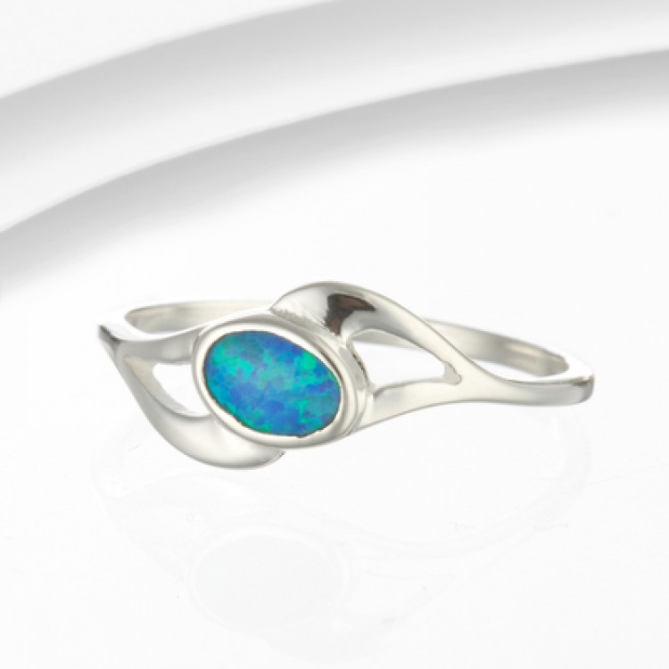 Blue Opalite Ring In Wave Setting