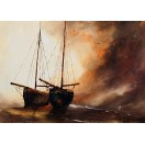 Two Boats, Copper Sky - SOLD