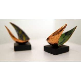 Freeform sculpture - Pair - Planished copper