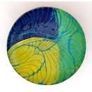 JH11  - Copper Sculpture - Dish - Blue-Green-Yellow
