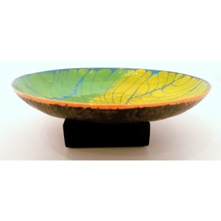 JH11  - Copper Sculpture - Dish - Blue-Green-Yellow